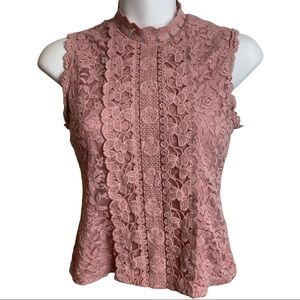 🔥 Ardene Pink Floral Lace Blouse Tank Size XS